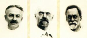 Рис. 6 А.В. Огарков, Е.А. Флелов, В.А. Черчесов, совместно руководившие больницей с 1911 по 1914 годы.